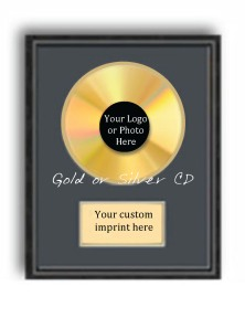 Gold or Silver CD with Logo in the center with plate